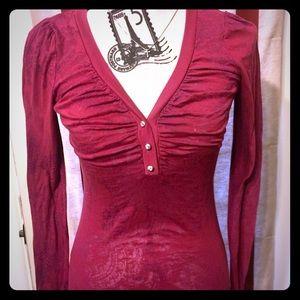BKE long sleeve crystal shirt lace buckle crystal